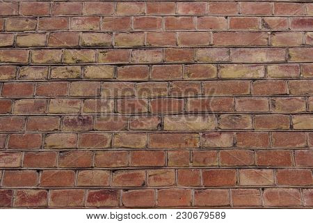 Cropped Shot Of A Facebrick Wall. The Wall. Old Brick Background.wall Texture Grunge Background With
