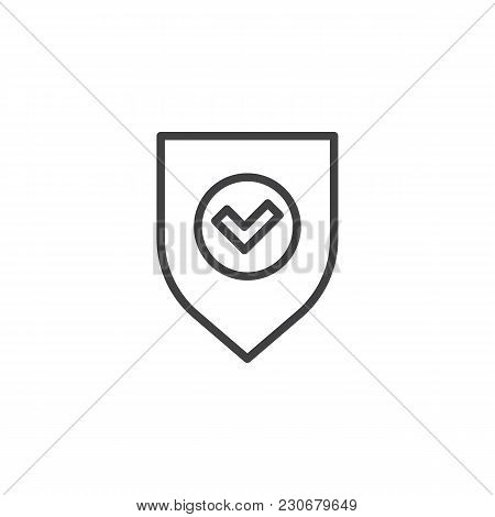 Shield And Check Mark Outline Icon. Linear Style Sign For Mobile Concept And Web Design. Secure, Shi