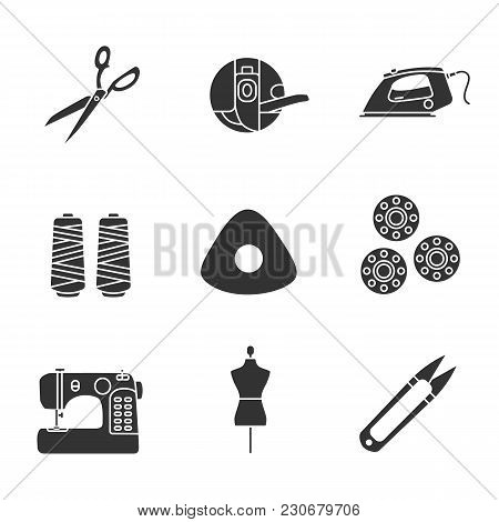 Tailoring Glyph Icons Set. Fabric Scissors, Bobbin Case, Steam Iron, Thread Spool, Chalk, Sewing Mac