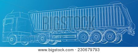 Semi-trailer Dump Truck Sketch Isolated On Blue Background. 3-axle Trailer Truck. Tracing Illustrati