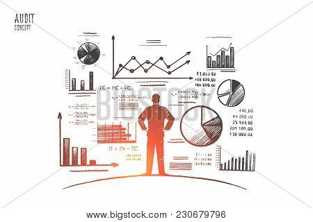 Audit Concept. Hand Drawn Person Near Wall With Charts And Diagrams. Auditing Business Process Isola