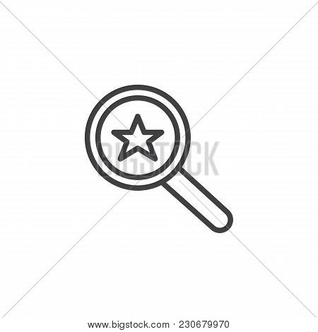 Magnifier Glass With Star Outline Icon. Linear Style Sign For Mobile Concept And Web Design. Favorit