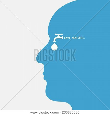 Human Head With Water Drop And Water Tap Icon Vector Logo Design Template.world Water Day Icon.world