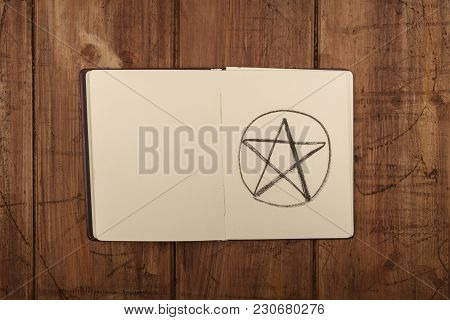 An Overhead Photo Of An Open Grimoire With Copy Space
