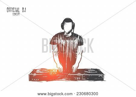 Official Dj Concept. Hand Drawn Charismatic Disc Jockey At The Turntable. Musician At Nightclub Duri
