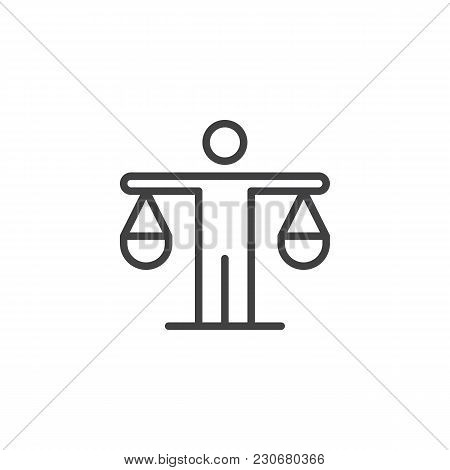 Man Is Holding The Scales Outline Icon. Linear Style Sign For Mobile Concept And Web Design. Efficie