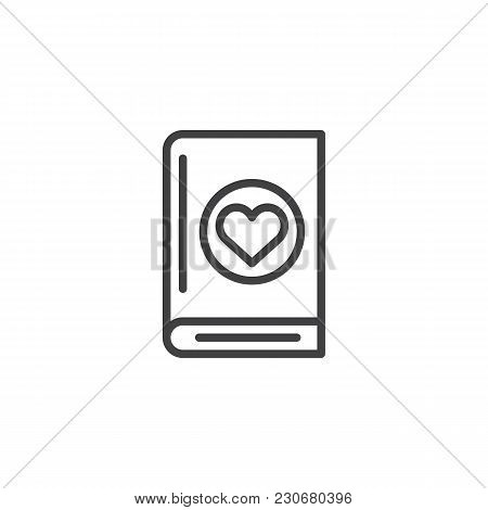 Book With Heart Outline Icon. Linear Style Sign For Mobile Concept And Web Design. Love Novel Readin
