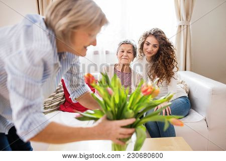 A Teenage Girl, Her Mother And Grandmother At Home. Family And Generations Concept.