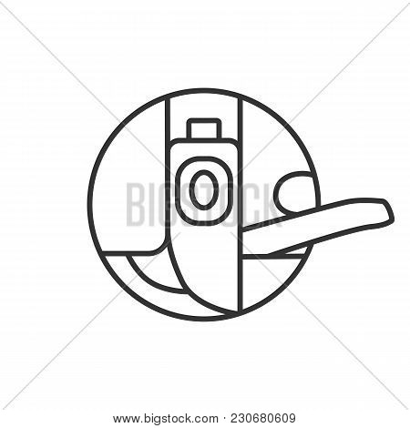 Bobbin Case Linear Icon. Thin Line Illustration. Sewing Machine Part. Contour Symbol. Vector Isolate