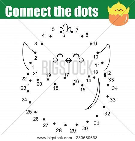 Connect The Dots Children Educational Drawing Game. Dot To Dot By Numbers For Kids. Printable Easter
