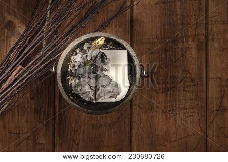 Overhead Photo Of Witch's Cauldron With Broom And Copy Space