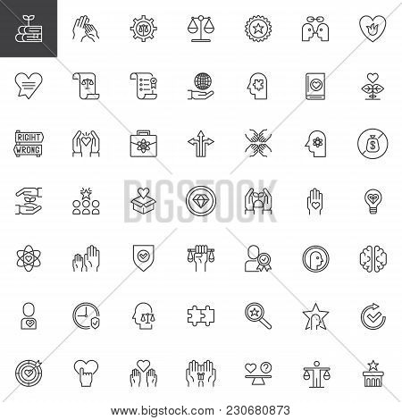 Ethics Universal Outline Icons Set. Linear Symbols Collection, Line Signs Pack. Vector Graphics. Set