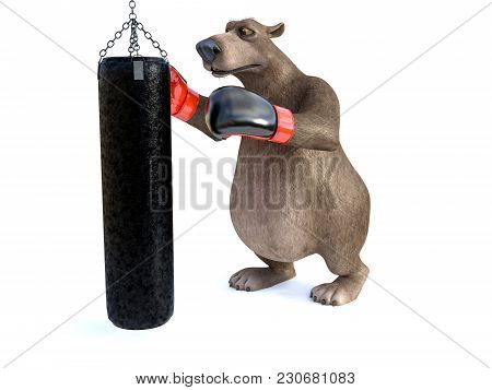 3d Rendering Of A Charming Cartoon Bear Wearing Boxing Gloves, Punching A Heavy Bag. White Backgroun