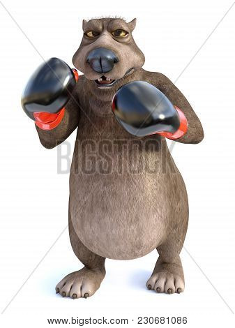 3d Rendering Of A Charming Cartoon Bear Wearing Boxing Gloves. He Looks Angry, Ready To Fight. White