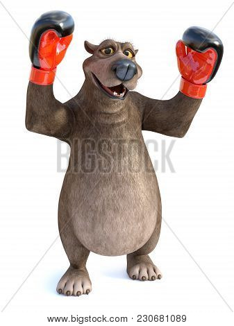 3d Rendering Of A Charming Cartoon Bear Wearing Boxing Gloves. He Looks Like A Winning Champion. Whi