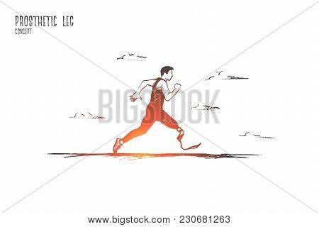 Prosthesis Concept. Hand Drawn Man Running With Prosthesis. Disabled Sportsman Runs Isolated Vector