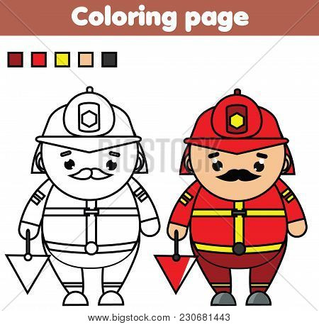 Fireman. Coloring Page. Color The Picture. Educational Children Game, Drawing Kids Activity, Printab
