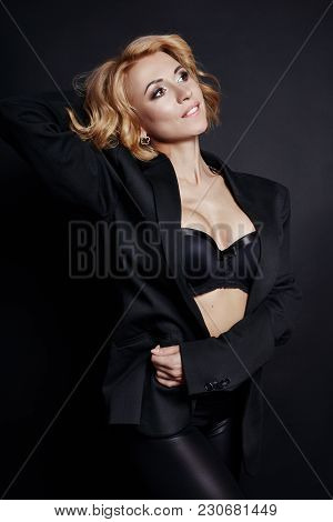 Portrait Of Sexy Business Women Blonde In A Black Jacket, Bare Body, Perfect Figure Girls, Erotic Se