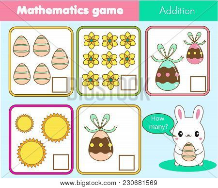 Easter Game. Counting Educational Children Game, Math Kids Activity Sheet. How Many Objects Task. Le