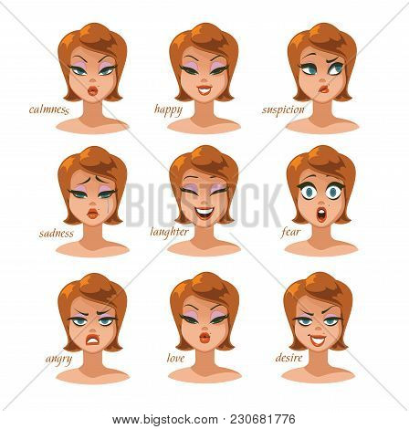 Woman Character Expressions Emotions Set. Calmness, Happy, Suspicion, Fear, Angry, Laughter, Sadness