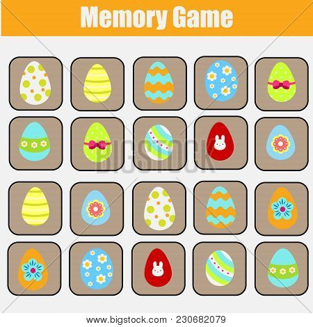 Memory Game For Toddlers. Educational Children Game. Easter Theme. Find Same Eggs