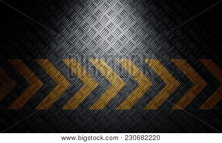 Old Black Grungy Diamond Metal Plate Surface With Caution Warning Chevron Tape. Building, Constructi