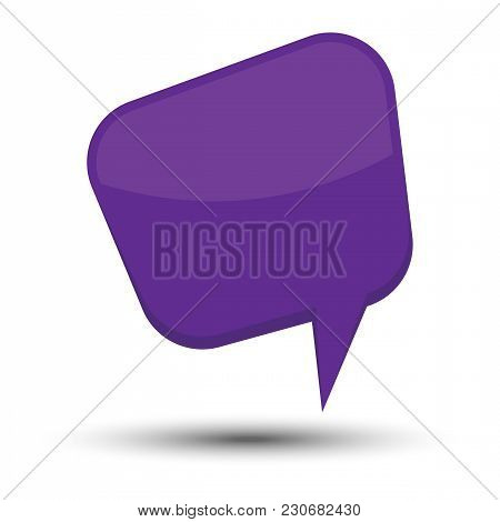 Blue Cartoon Comic Balloon Speech Bubble Without Phrases And With Shadow. Vector Illustration.