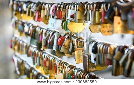 Love Locks On The Butchers Bridge In Ljubljana Slovenia. Bridge Full Of Colorful Love Padlocks Hangi