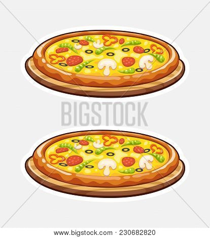 Pizza On Wooden Board. Italian Traditional Food. Fast-food. Isolated White Background. Eps10 Vector