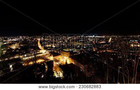 Night Panoramic View Of Ljubljana From Ljubljana Castle, Slovenia