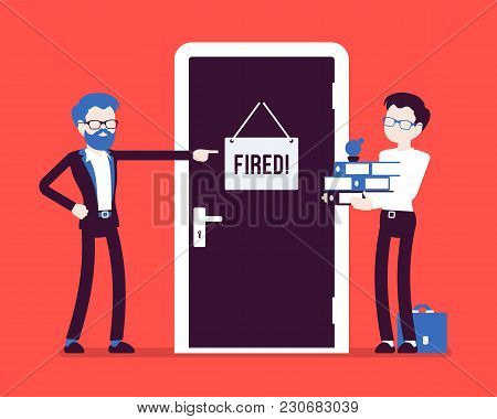 Fired Office Worker And Boss. Young Employee Dismissed From Job By Angry Manager, Discharged For Bad