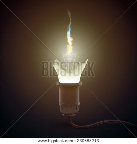 Realistic Glowing Light Bulb Template With Broken Glass And Fire On Dark Background Isolated Vector