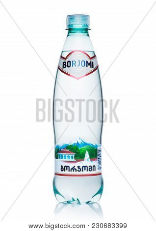 London, Uk - March 10, 2018 : Plastic Bottle Of Borjomi Sparkling Mineral Water On White Background.