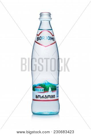 London, Uk - March 10, 2018 :glass Bottle Of Borjomi Sparkling Mineral Water On White Background.bor