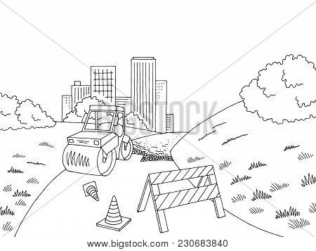 Road Construction Graphic Black White City Landscape Sketch Illustration Vector