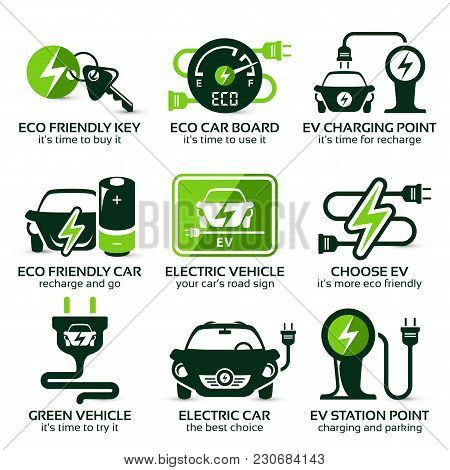 Flat Icon Set For Green Eco Electric Car, The Drop Shadow Contains Transparencies, Eps10
