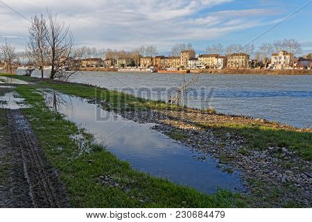 Lyon, France, March 10, 2018 : The Saone River Banks At Neuville-sur-saone.