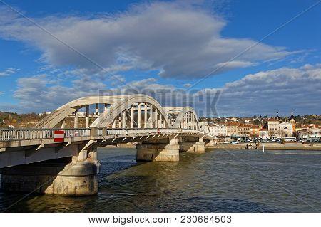 Lyon, France, March 10, 2018 : The Neuville Bridge Crossing The Saone River.