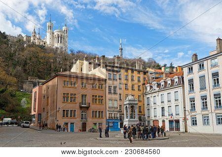 Lyon, France, March 11, 2018 : Place Saint-jean And Fourviere Basilica.