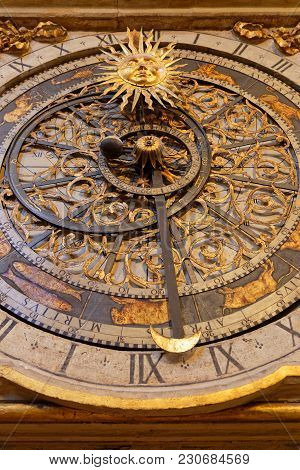 Lyon, France, March 11, 2018 : Lyon Astronomical Clock. Built In 1379, The 9 Meter Tall Clock Sits I