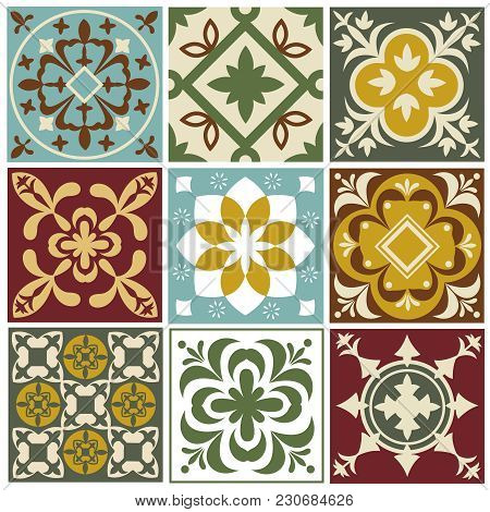 Portuguese Tiling Vector Patterns. Old Mediterranean Tile Prints. Ceramic Square Arabesque Pattern C
