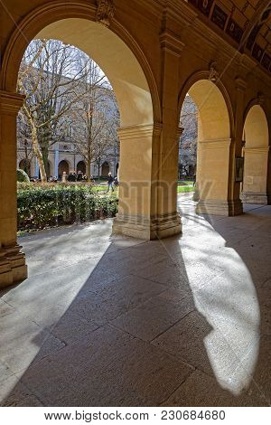 Lyon, France, March 11, 2018 : Gardens Of The Museum Of Fine Arts Of Lyon (in French, Musee Des Beau