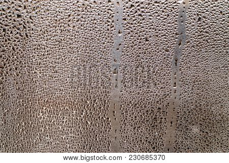 Natural Water Condensation On Glass. Abstract Texture For Background. Close-up.