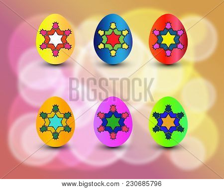 Easter Eggs Vector Set With Colors And Patterns. Colorful Eggs Isolated On Colorful Background For E