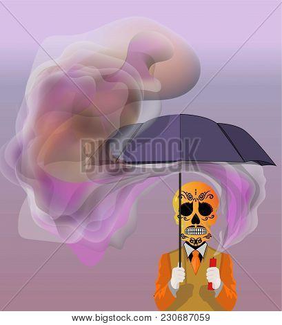 Skull Holding An Umbrella Vector Illustration Background