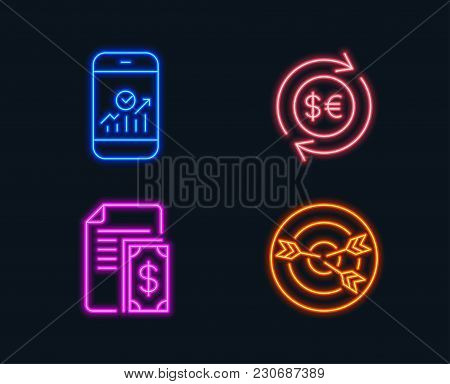 Neon Lights. Set Of Smartphone Statistics, Money Currency And Payment Icons. Targeting Sign. Mobile