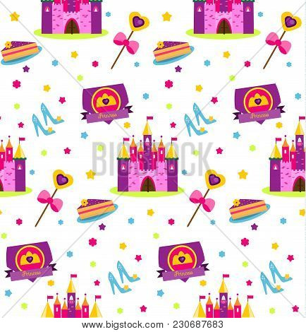 Princess Party Pattern. Vector Background With Girls Design Elements. Castle, Shoes, Wand, Cake. For