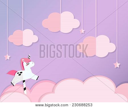 Unicorn On Pink Clouds In Violet Heaven. Background In Paper Cut, Paper Craft Style. For Kids And Nu