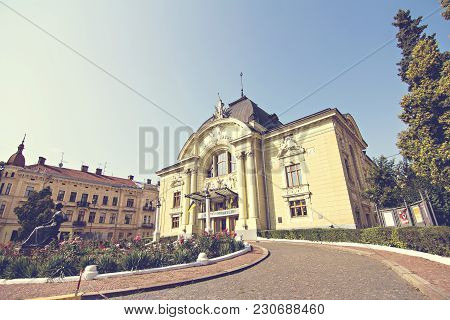 Chernivtsi, Ukraine. August, 2017 - Opera Theater In The City Of Chernovtsy. Beautiful Buildings On