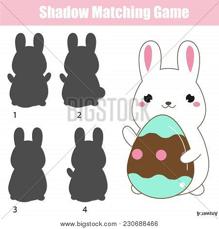 Shadow Matching Game For Children. Shadow Matching Game. Easter Theme Activity For Kids And Toddlers